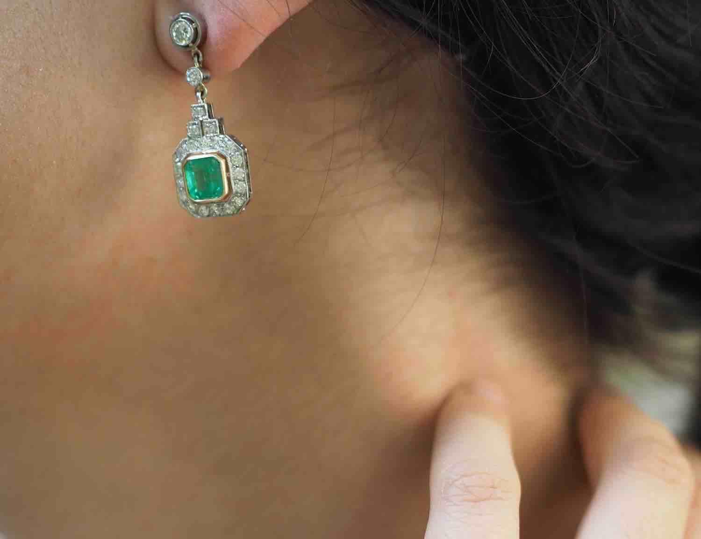 Boucles d'oreilles émeraudes d'occasion