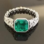 bijoux occasion, bague émeraude diamants