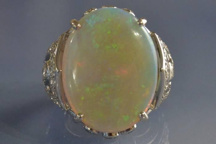 rachat bague opale et diamants