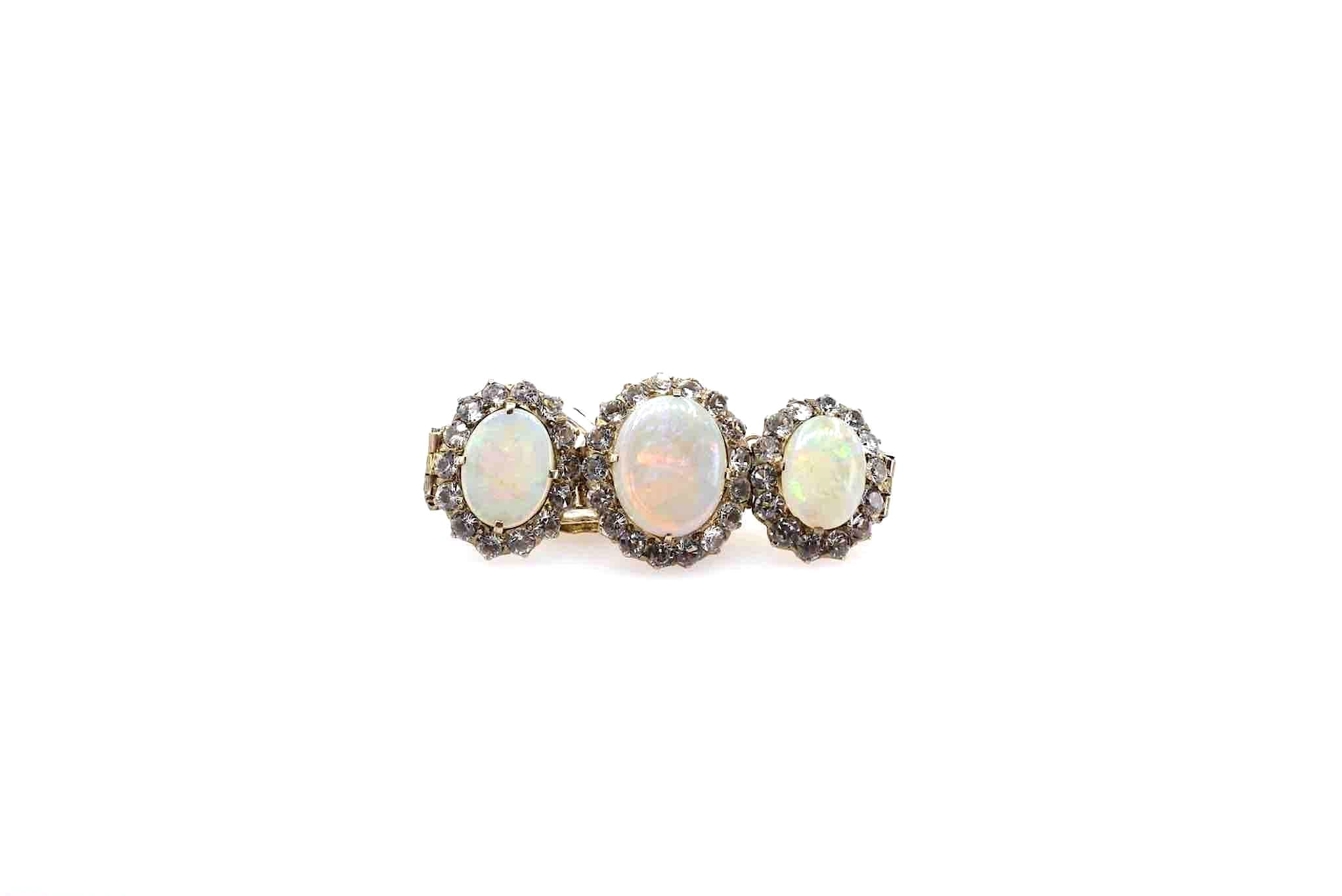 bracelet vintage opales blanches