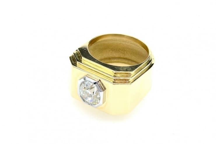 bague or et diamant antique