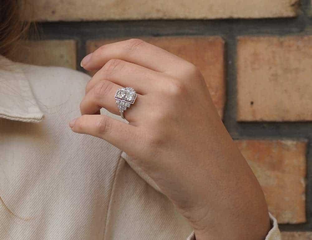bague art-déco diamants de fiançailles