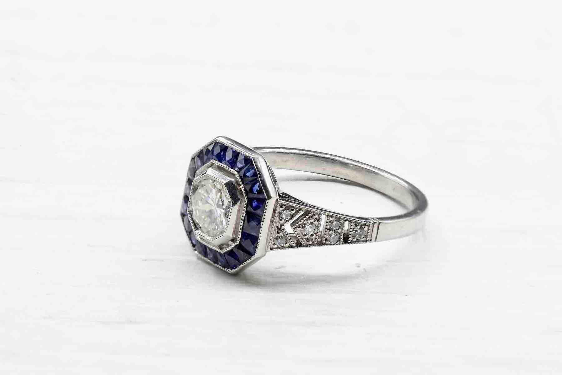 bague art deco saphirs diamants