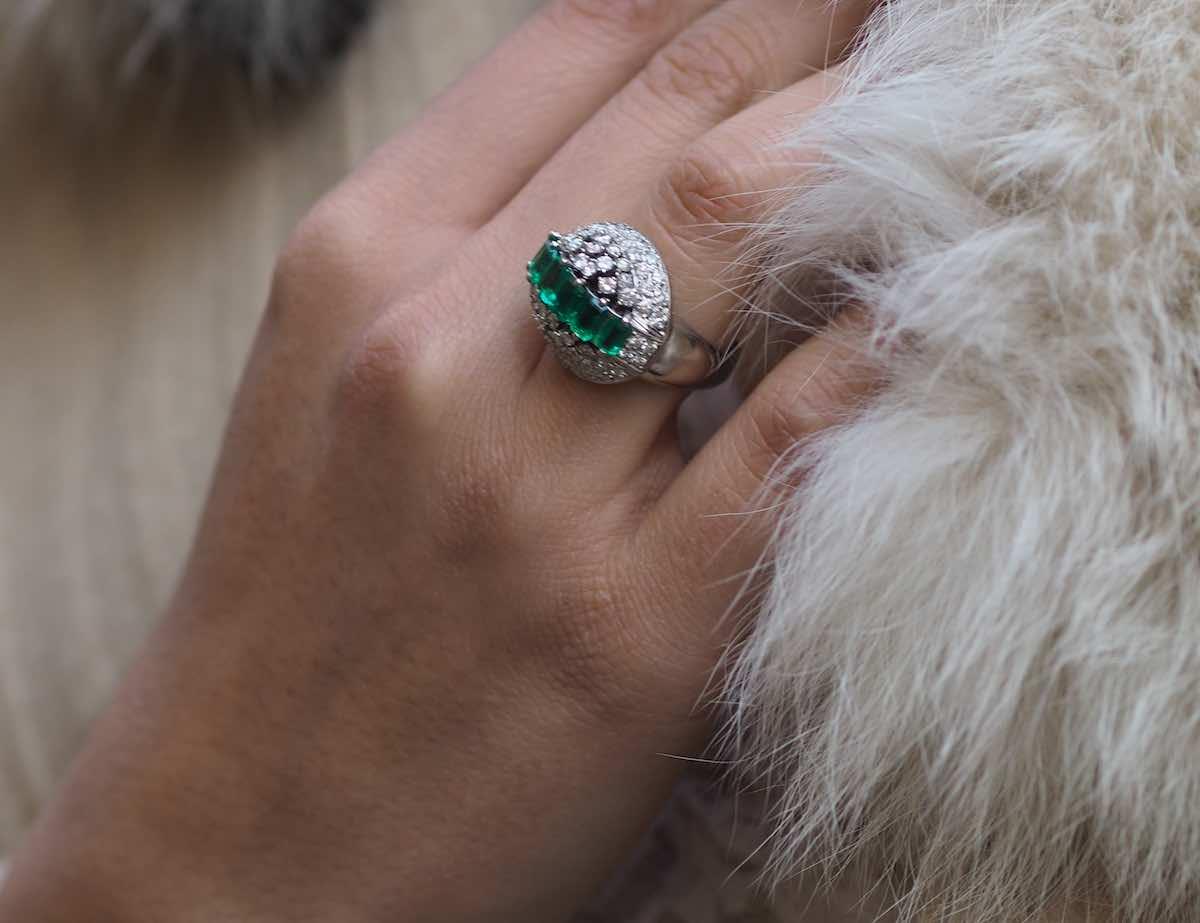 bague d'occasion diamants et émeraude