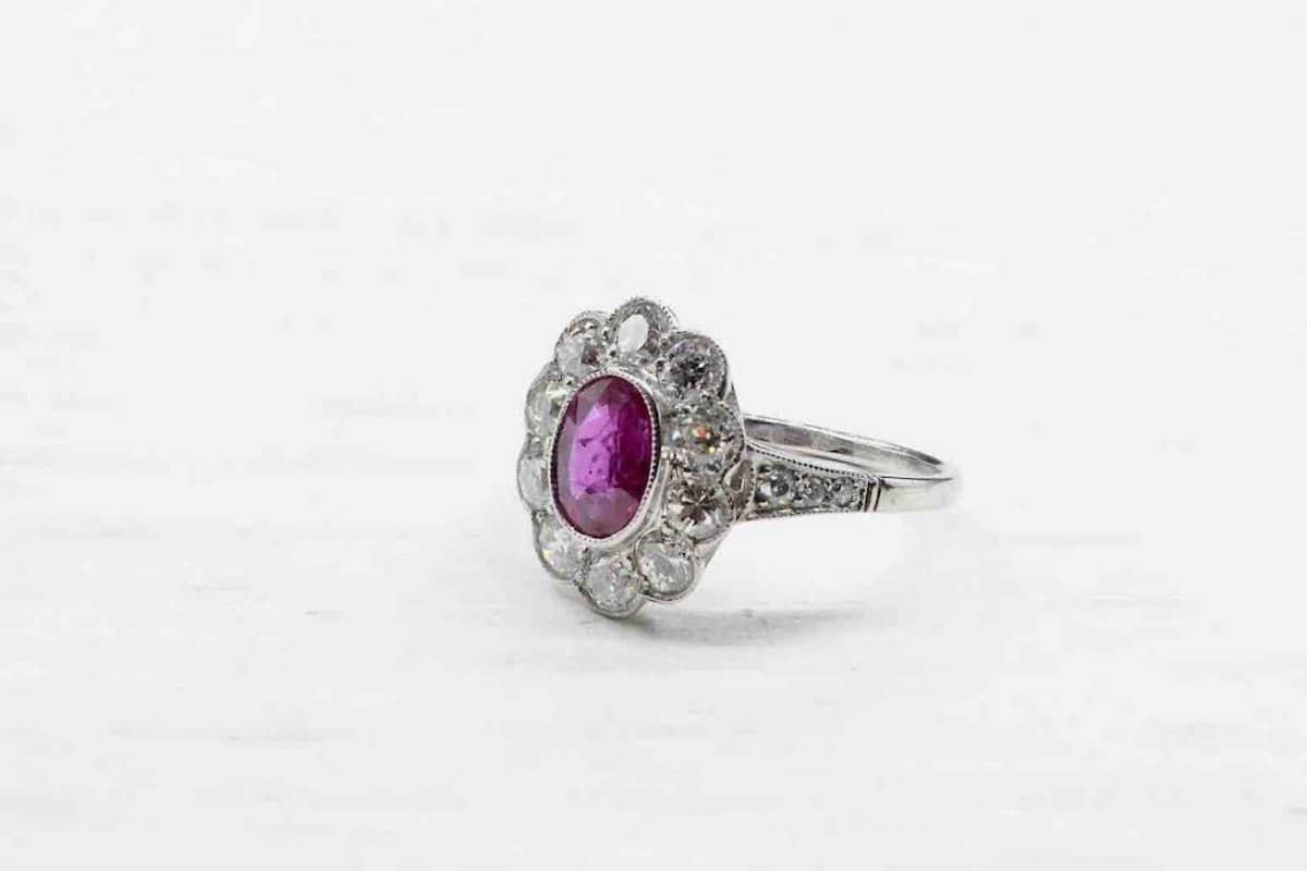 bague avec rubi et diamant vintage