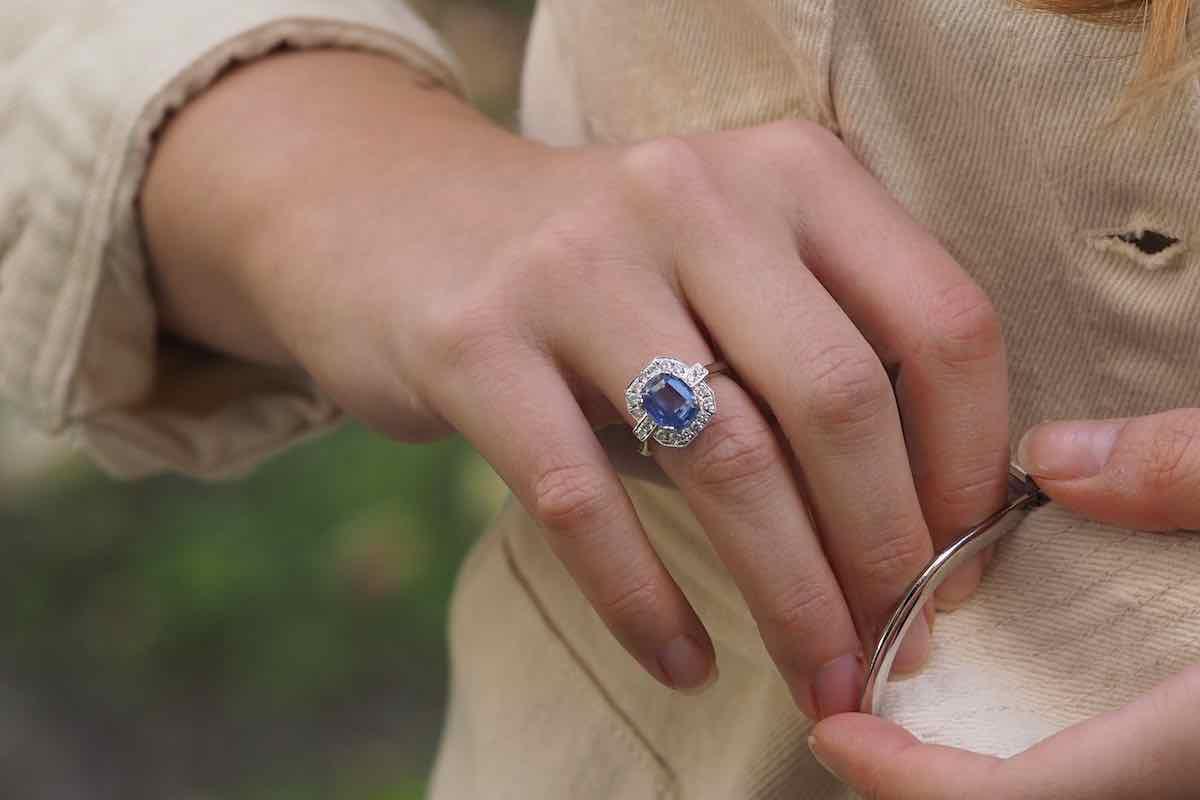 achat bague saphir et diamants
