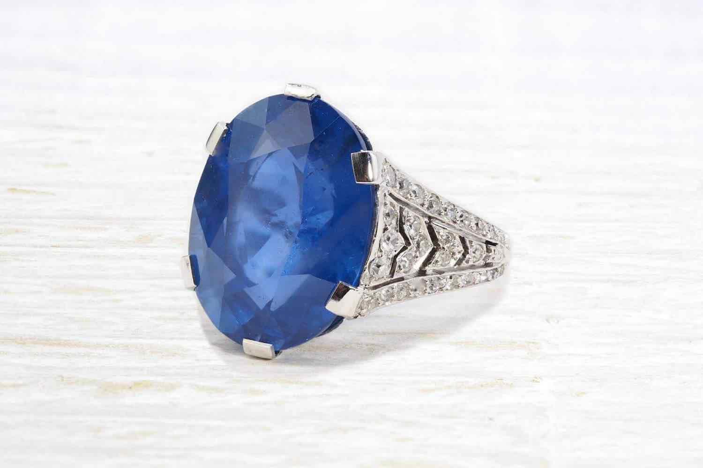 achat bague saphir de ceylan et diamants