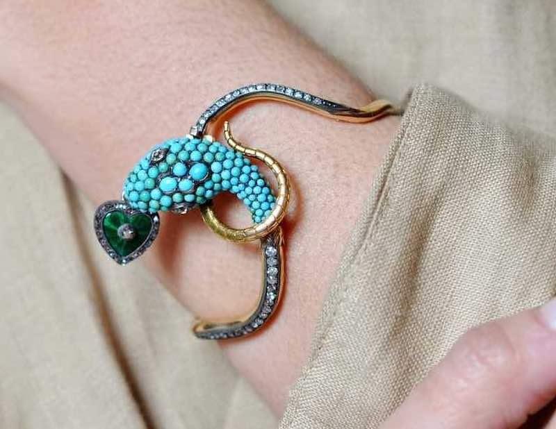 bracelet ancien turquoises 19e
