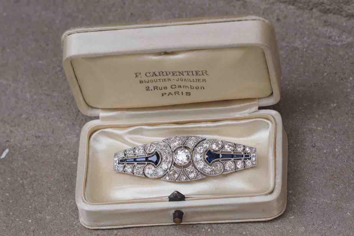 broche diamants et saphir