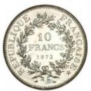 lingots d'or et pièces d'or, en argent, 10f Hercule